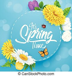 It's spring time banner with round frame, insects and flower on blue sky background