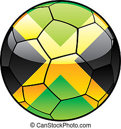 Jamaica flag on soccer ball - vector illustration of Jamaica...