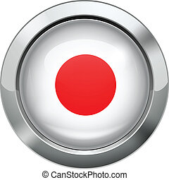 Japan flag metal button