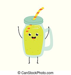 Vector illustration of jar of fruit cocktail with cap and straw.