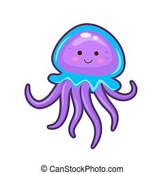 Vector illustration of jelly fish - Vector illustration of ...