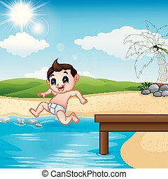Jumping little boy in a water