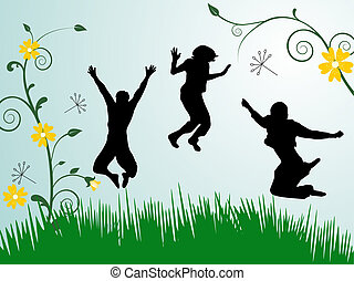 jumping teenager
