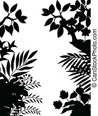 Jungle silhouette - Vector Illustration Of Jungle silhouette