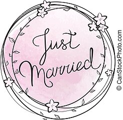 Vector illustration of 'Just married' lettering on a floral frame