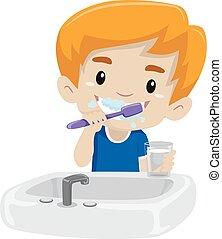 Kid Boy Brushing his teeth