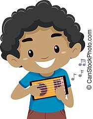 Vector Illustration of Kid Boy holding and playing a mobile guitar application