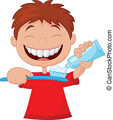 Kid cartoon squeezing tooth paste o