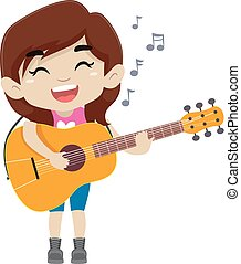 Kid Girl Holding and Playing a Guitar
