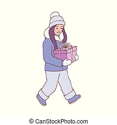 Vector illustration of kid girl in warm winter clothes with present box in sketch style.