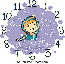 Kid using his arm as Hand Clock for Bedtime - Vector...