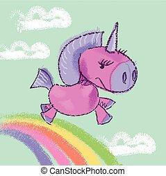 vector illustration of kiddy unicorn in the sky on rainbow