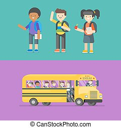 Vector illustration of kids at school and in bus.