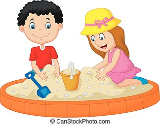 Vector illustration of Kids cartoon playing on the beach building a sand castle decoration
