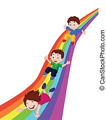 Kids cartoon Sliding Down a Rainbow