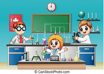 Kids doing chemical experiment in the lab