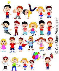 Kids engaged in different expression - Vector illustration...