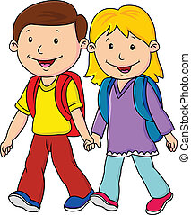 Kids on his way to school - vector illustration of Kids on...