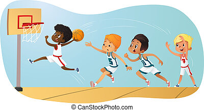 Vector Illustration Of Kids Playing Basketball. Team Playing Game. Team competition.
