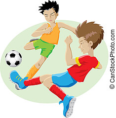 football - vector illustration of kids playing football