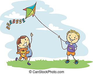 Kids Playing Kite on Field
