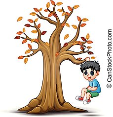 Kids playing with autumn tree