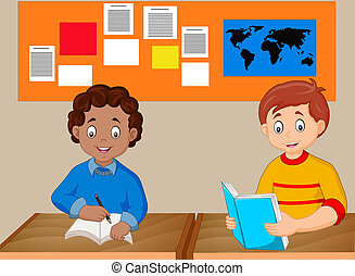 Kids study together