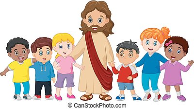Kids with Jesus Christ - Vector illustration of Kids with ...