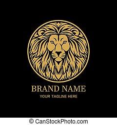 King lion head circle logo design