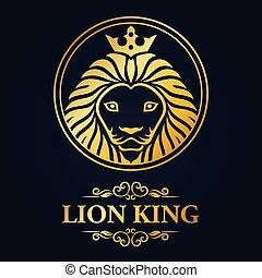 King lion head mascot on black background