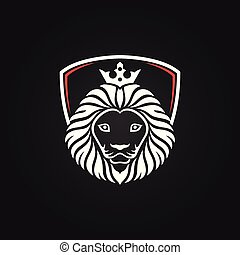 King lion head mascot on black background