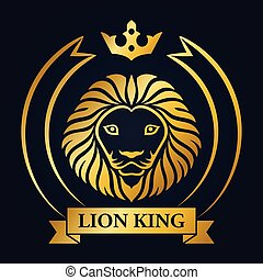 King lion head mascot on blue background