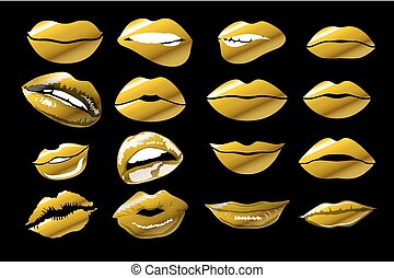 Vector illustration of kiss print with gold shimmer