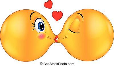 Kissing emoticon cartoon