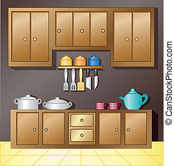 Vector illustration of Kitchen interior