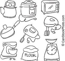 Vector illustration of kitchen set hand draw