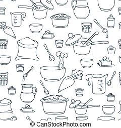 vector illustration of kitchen utensils as a seamless pattern