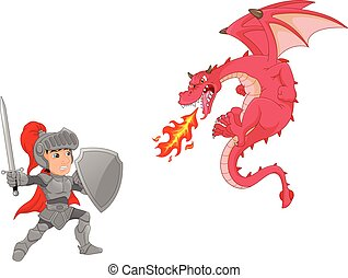 knight boy with angry dragon cartoon