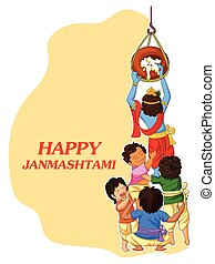 Krishna with friends playing dahi handi in Janmashtami -...