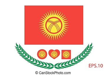 Vector illustration of Kyrgyzstan flag. eps 10