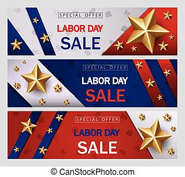Labor day sale banner template with American flag and golden star design