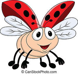 Lady bug flying  - Vector Illustration Of Lady bug flying