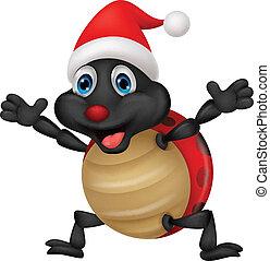 Ladybug cartoon wearing red hat