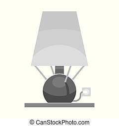 Vector illustration of lamp and lampshade sign. Collection of lamp and light stock symbol for web.
