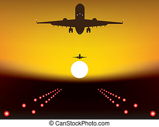 landing plane - vector illustration of landing plane over...
