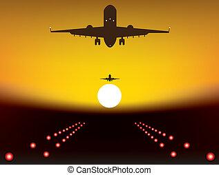 vector illustration of landing plane over runway at sunset