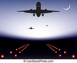 vector illustration of landing plane over runway