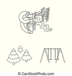 Vector illustration of landscape and nature icon. Set of landscape and city stock vector illustration.