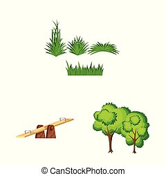 Vector illustration of landscape and park logo. Collection of landscape and nature vector icon for stock.