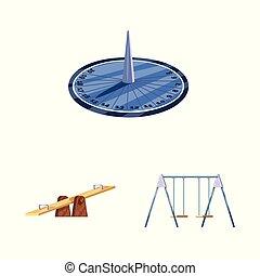 Vector illustration of landscape and park logo. Set of landscape and nature stock symbol for web.
